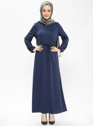 Navy Blue - Crew neck - Unlined - Dresses - Mileny 397193