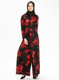 Çiçek Desenli Tulum - Siyah - Ginezza