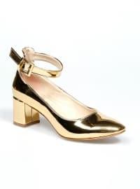 Topuklu Ayakkabı - Gold Rugan - Pembe Potin