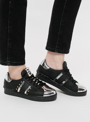 Sitill Spor Ayakkabı - Siyah Gümüş