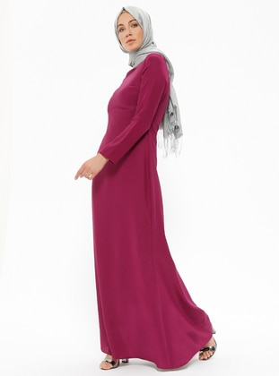 Pink - Purple - Maroon - Crew neck - Fully Lined - Dresses - Minel Ask 397944