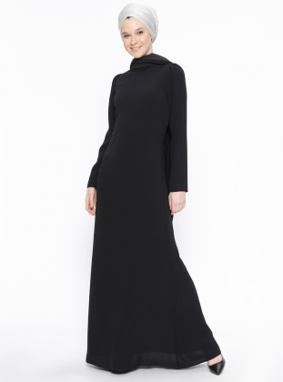 Black - Crew neck - Fully Lined - Dresses - Minel Ask 397943