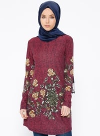 Desenli Tunik - Bordo - Nupel