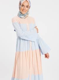 Blue - Powder - Button Collar - Unlined - Viscose - Dresses