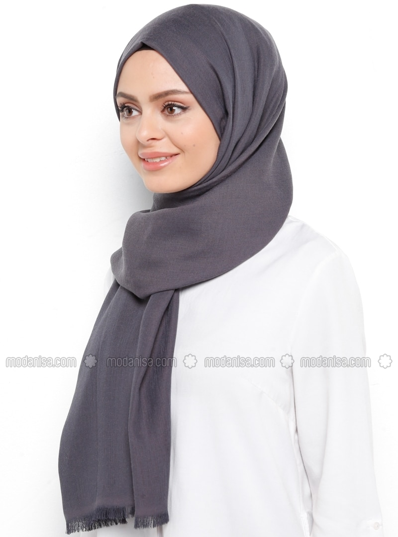 Black - Gray - Printed - Shawl