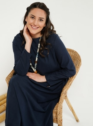 Navy Blue - Fully Lined - Crew neck - Linen - Plus Size Dress