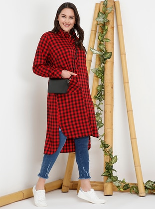 Red - Checkered - Point Collar - Plus Size Tunic