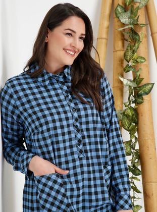 Blue - Checkered - Point Collar - Plus Size Tunic