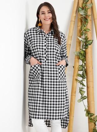 Black - White - Checkered - Point Collar - Plus Size Tunic