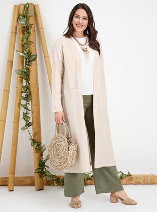 Beige - Unlined - Linen - Plus Size Coat