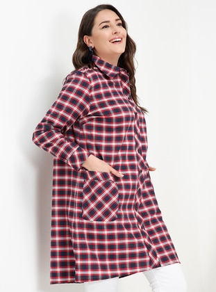 Red - Navy Blue - Plaid - Point Collar - Cotton - Plus Size Tunic