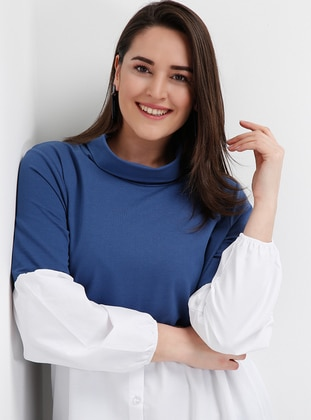 Blue - Ecru - Plus Size Tunic - Alia 398504