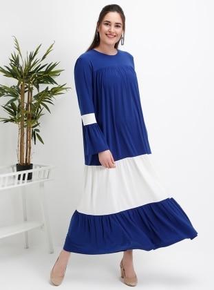 Ecru - Saxe - Unlined - Crew neck - Plus Size Dress