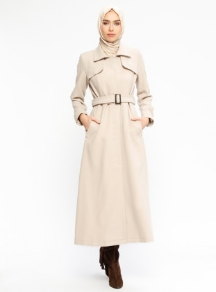 Beige - Fully Lined - Point Collar - Coat
