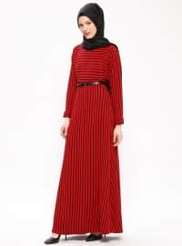 Çizgili Elbise - Kırmızı - Mileny