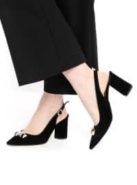 Topuklu Ayakkabı - Siyah Süet - Kuum