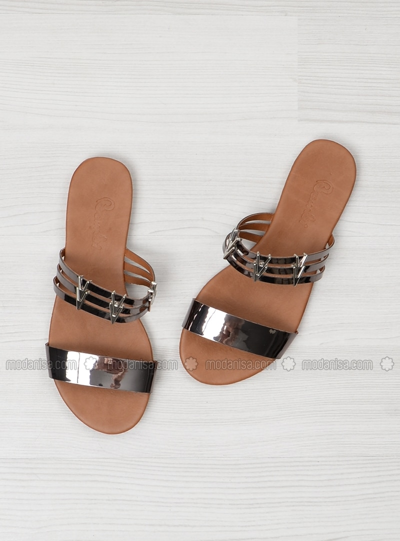 Gray - Silver tone - Sandal - Slippers