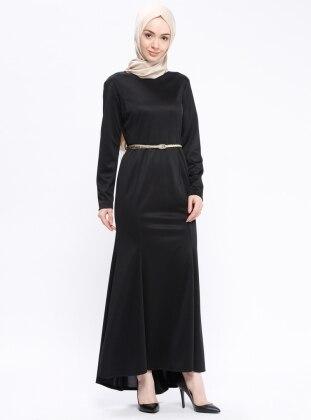 Kemerli Elbise - Siyah - AKABE MODA Ürün Resmi
