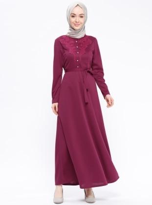Dantel Detaylı Elbise - Mürdüm - AKABE MODA Ürün Resmi