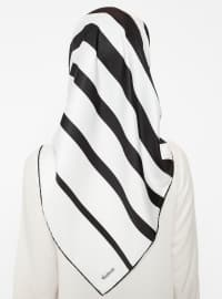 Black - White - Striped - Twill - Scarf - Renkli Butik