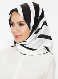 Black - White - Striped - Twill - Scarf - Renkli Butik