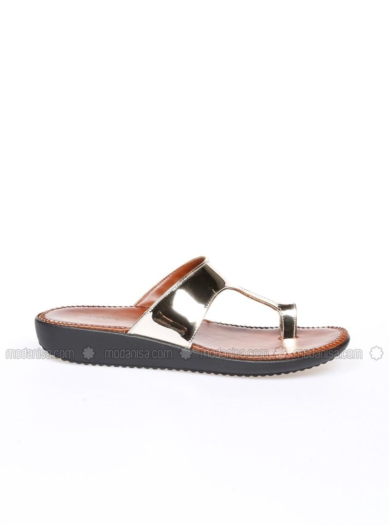 golden tone sandal slippers muya. Black Bedroom Furniture Sets. Home Design Ideas