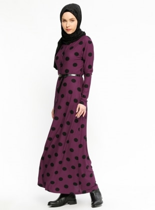 Purple - Polka Dot - Crew neck - Unlined - Dresses - Dadali 400848