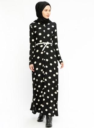Black - Polka Dot - Crew neck - Unlined - Dresses - Dadali 400846