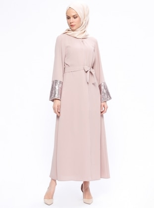 Beige - Powder - Unlined - Abaya