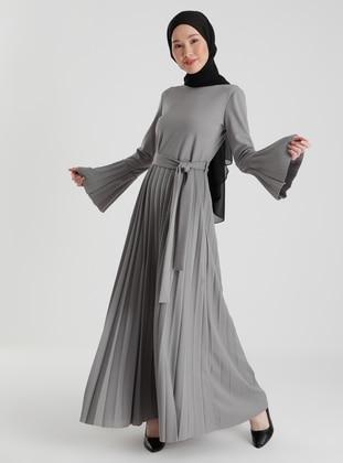 Gray - Crew neck - Dresses