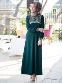 Dantel Detaylı Elbise - Zümrüt - İnşirah