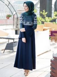 Desenli Elbise - Lacivert Zümrüt - İnşirah