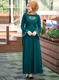 Nakış Detaylı Elbise - Zümrüt - İnşirah