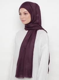 Purple - Plain - Cotton - Shawl