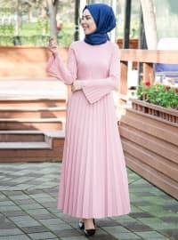 Piliseli Elbise - Pudra - İnşirah