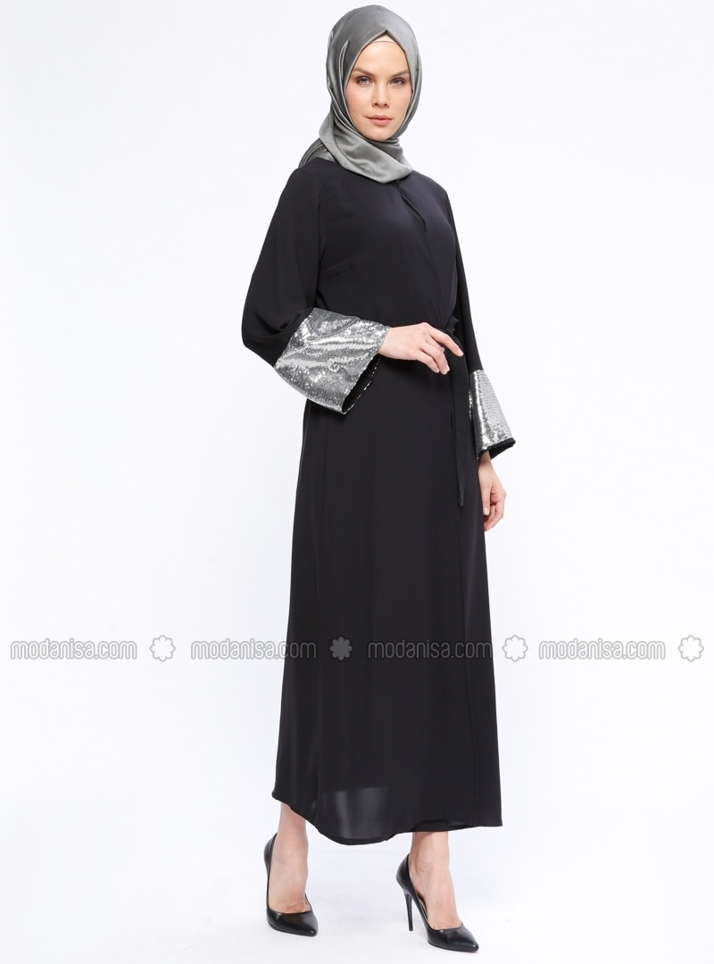 Black - Gray - Unlined - Abaya