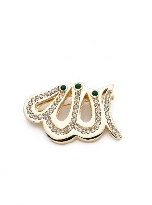 Modex Allah Yazılı Taşlı Broş - Gold