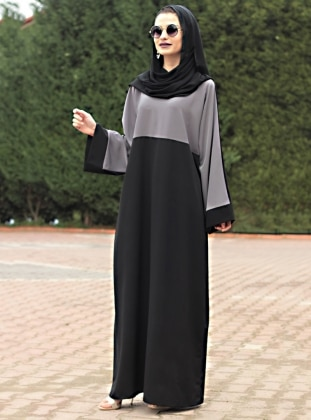 Black - Gray - Unlined - Crew neck - Abaya - Gabra