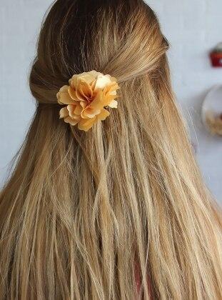 Kumaş Özel Tasarım Çiçek Toka - Sarı - Chiccy Ürün Resmi