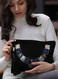 Mavi Altın Pul İşlemeli Çanta - Karışık Renkli - Chiccy