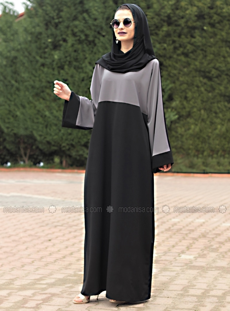 Black - Gray - Unlined - Crew neck - Abaya