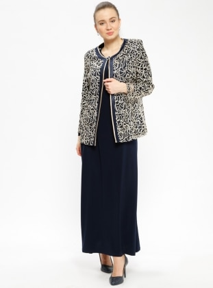Navy Blue - Multi - Crew neck - Unlined - Plus Size Suit - Arıkan