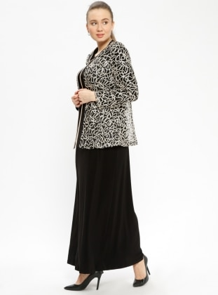 Black - Multi - Crew neck - Unlined - Plus Size Suit