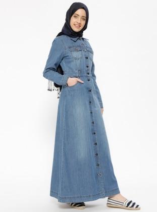 Navy Blue - Point Collar - Unlined - Denim - Dresses