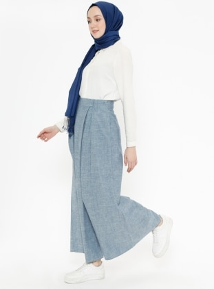 Blue - Gray - Fully Lined - Denim - Culottes