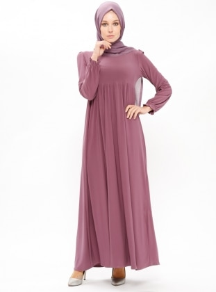 Pink - Purple - Point Collar - Unlined - Dresses - ZENANE