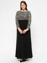 Black - Gold - Multi - Fully Lined - Crew neck - Muslim Plus Size Evening Dress