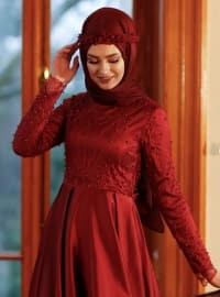 Maroon - Fully Lined - Crew neck - Muslim Evening Dress - Eldia By Fatıma