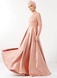 Salmon - Fully Lined - Crew neck - Muslim Evening Dress - Eldia By Fatıma