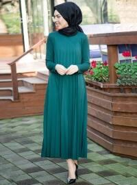 Piliseli Elbise - Zümrüt - İnşirah
